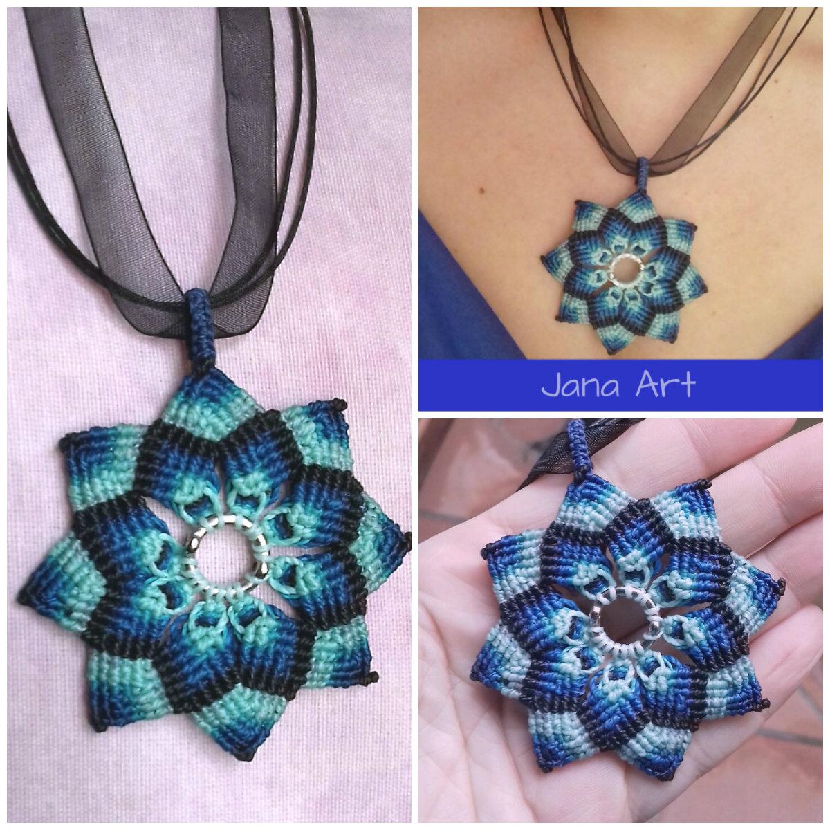 Macrame Fiore Di Mandala Blu